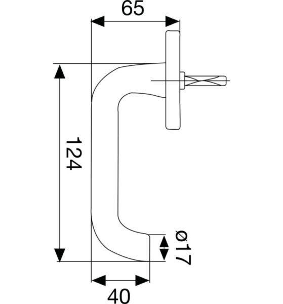 Fenstergriff SCH - Line U - Form - verdeckt geschraubt, silber eloxiert