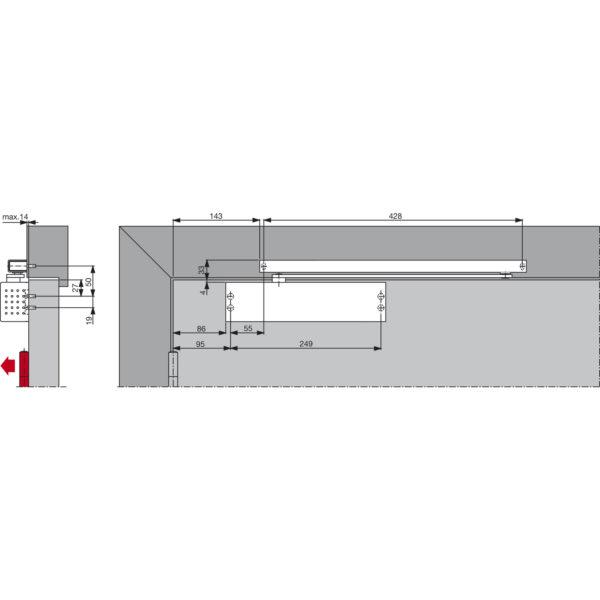 Türschließer DORMA TS 91B EN 3, 1-flg. mit Gleitschiene
