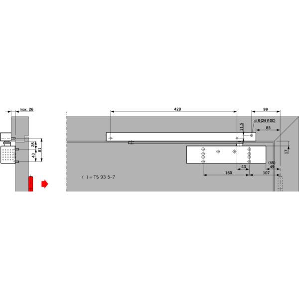 Türschließer DORMA TS 93G EMF, EN 2-5, 1-flg. mit Gleitschiene, silber