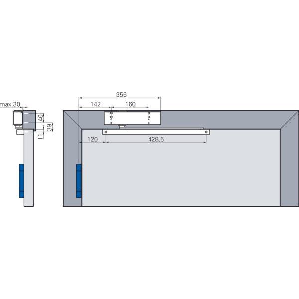 Türschließer ECO TS 31 mit Gleitschiene GSB EN 1-3 silber