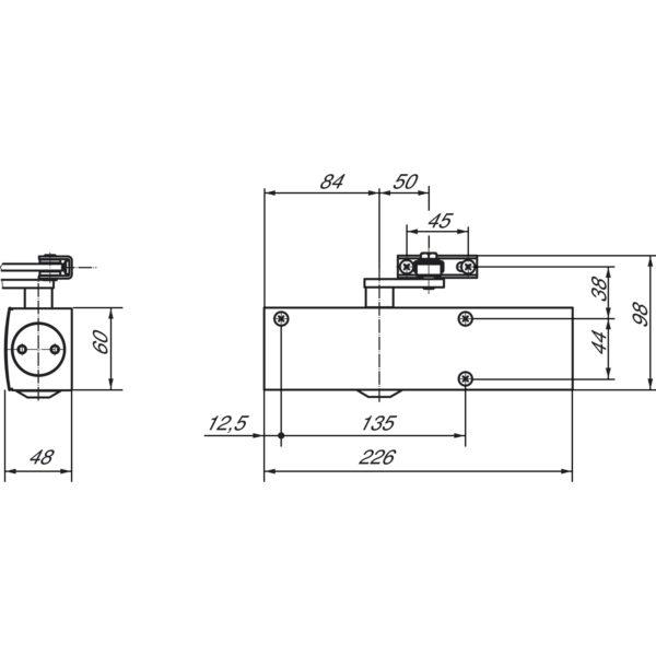 Türschließer GEZE TS 2000 V, EN 2-5, m. Gestänge, Flügelb. -1250 mm, silber