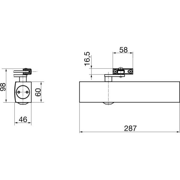 Türschließer GEZE TS 4000, EN 1-6, m. Gestänge, Flügelb. -1400 mm