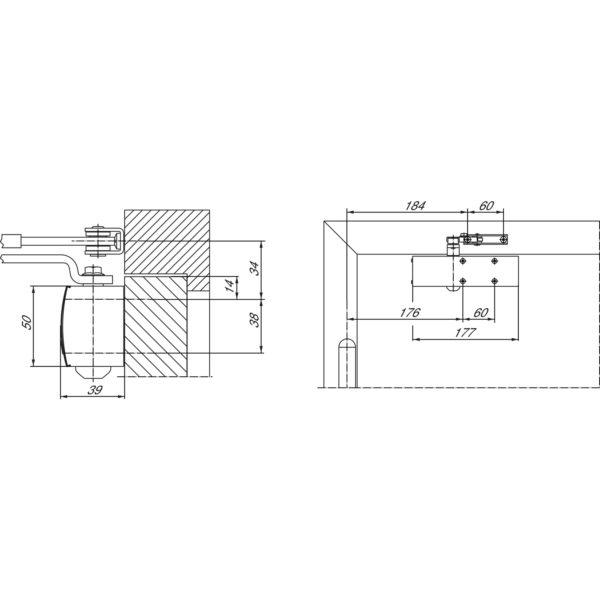 Türschließer GEZE TS 1500 mit Gestänge , EN 3-4 silber