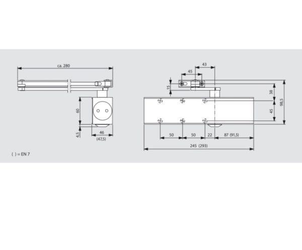 Türschließer Dorma TS 83 Flachgestäng, EN 3-6, silber