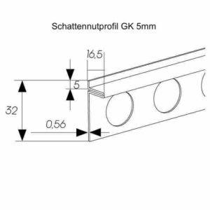 Schattennutprofil GK 5mm