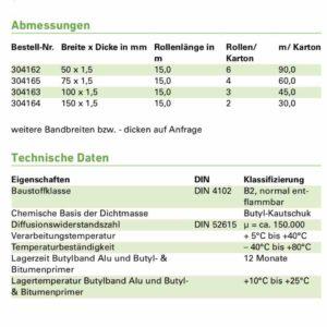 technische Daten Botylband ME404 Illbruck