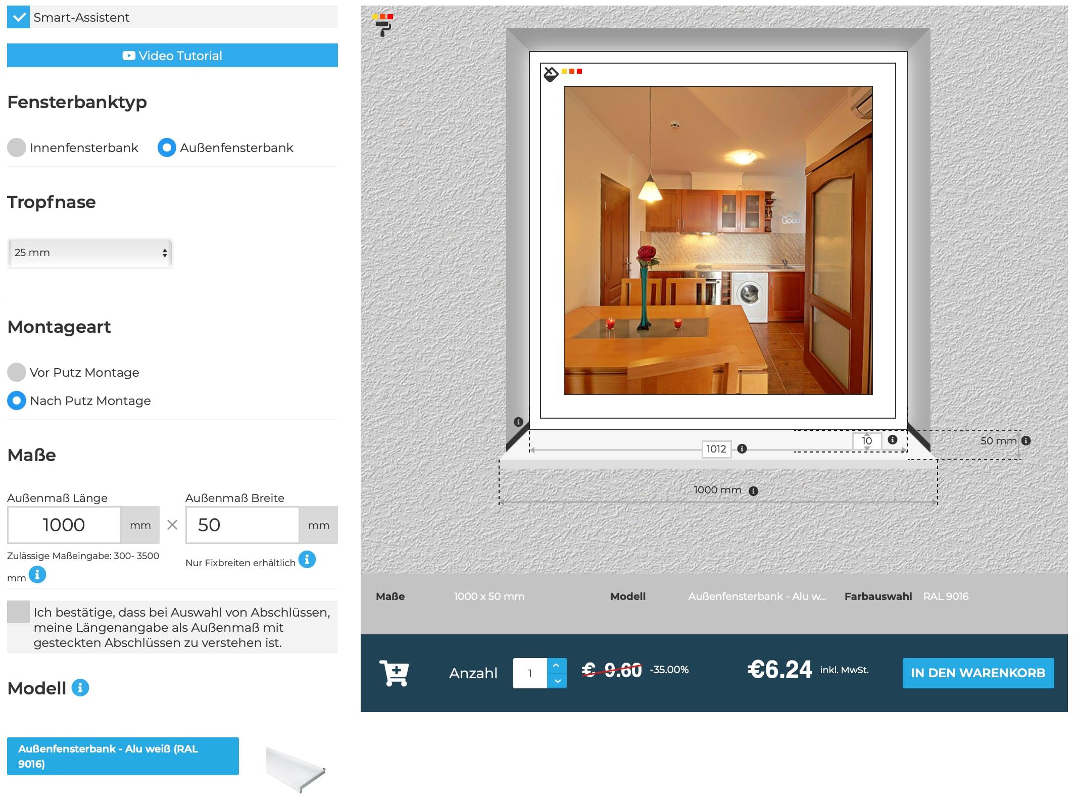 Außenfensterbänke-Online-Konfigurator-Montage-Blende-Tropfnase