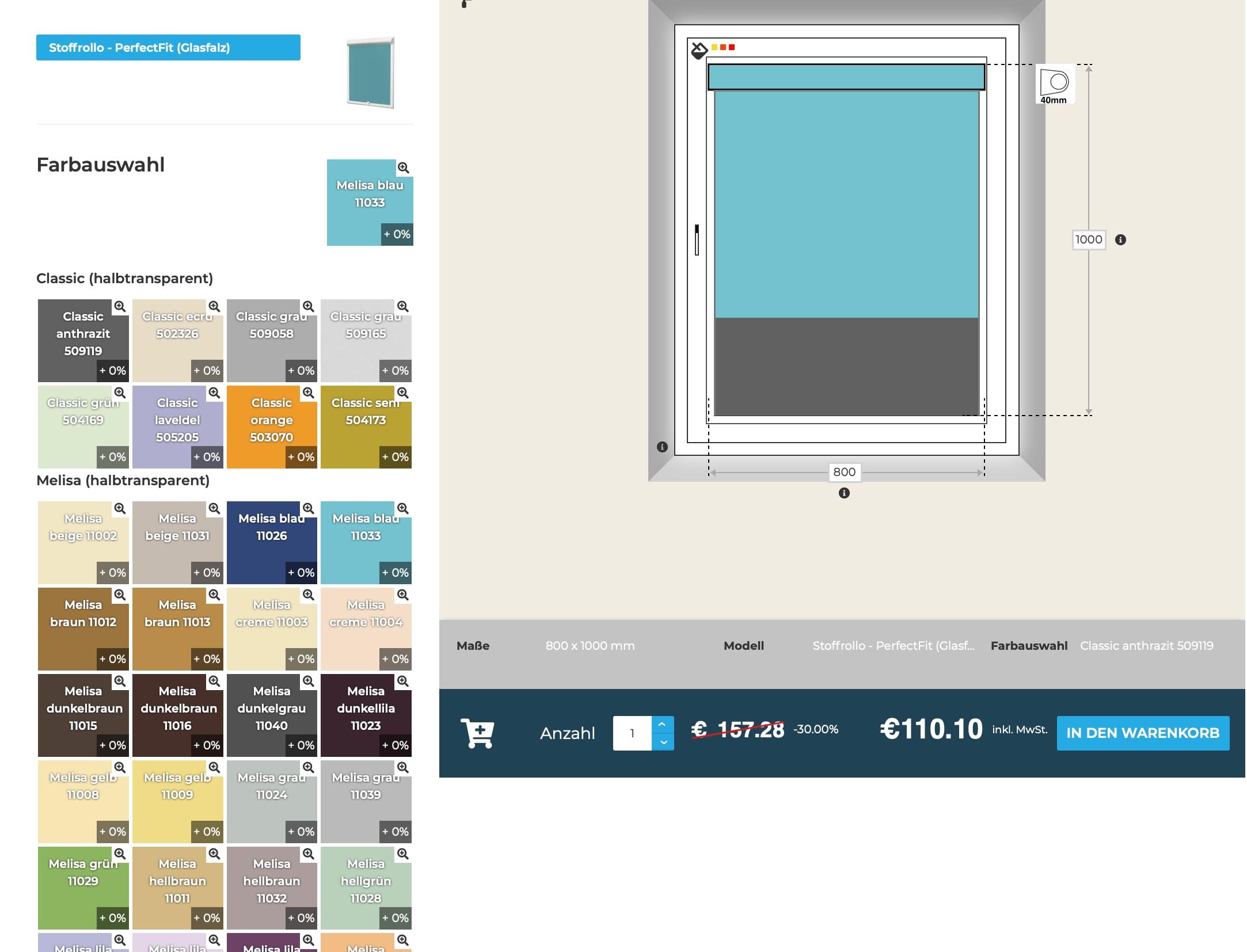 Innensonnenschutz online Konfigurator Farbgestaltung