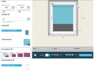 Inennsonnenschutz Online Konfigurator Montage wählen