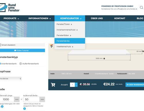 Innenfensterbänke online Konfigurator